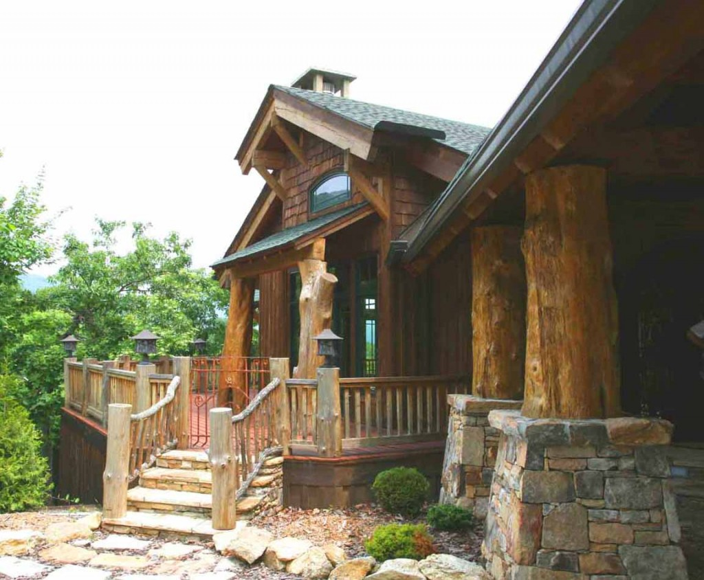 Rustic creations on pinterest rustic home design log for Log and stone home plans