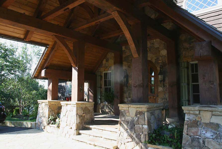 Mountain house 2 highlands nc timber frame design for Timber frame porch designs