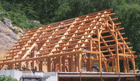 Timber frame structure for one of Rand Soellner's castle home designs, (C)Copyright 2010 Rand Soellner, All Rights Reserved.  Photo courtesy of Jeff Johnson Timber Frames inc.  Timber frame fabrication and erection by Jeff Johnson. Castle design by Rand Soellner.