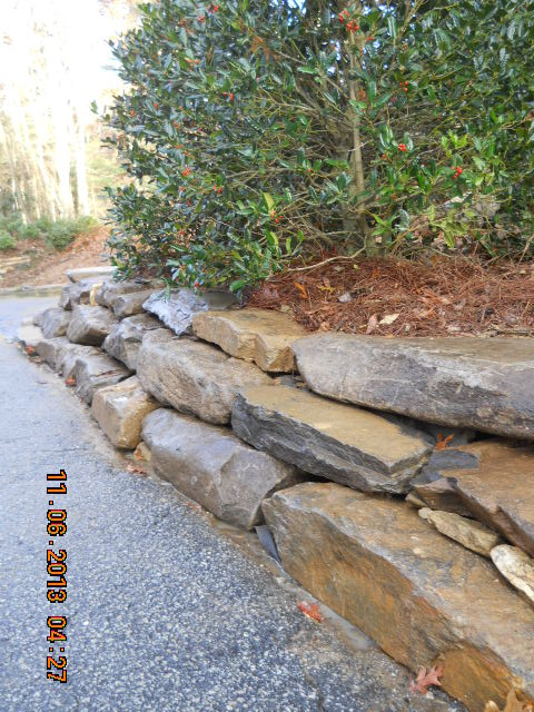 stone lined driveway