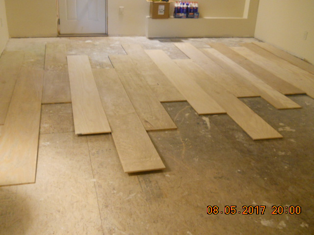 Distressed Plywood Plank Floor Whitewashed