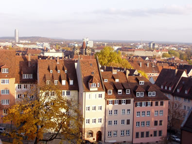 Old rooftops in Nuernberg, illustrating dormer roofs, similar to that used in our present-day mountain homes.