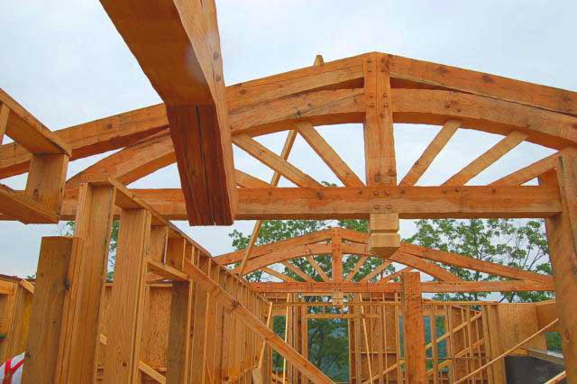 timber frame roof trusses designed by Rand Soellner Architect in log home under construction.