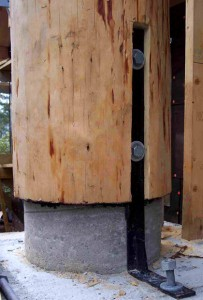 mountain dream log mansions - log post base detail by Rand Soellner.  (C)Copyright 2004-2010 Rand Soellner, All Rights Reserved Worldwide.