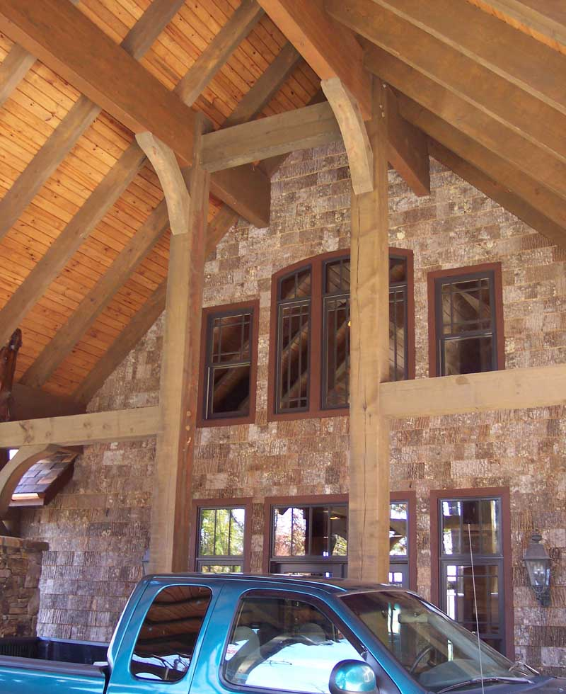 "luxurious porte-cochere at the front entrance of one of Rand Soellner's estate home projects.  Custom home architects try to design convenient and appropriate imagery for the home's appearance - for your ""face to the World.""  (C)Copyright 2006-2010 Rand Soellner, All Rights Reserved Worldwide."
