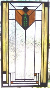 One of interior consultant Merry Soellner's custom stained glass, personally made by her for Soellner project interior designs.