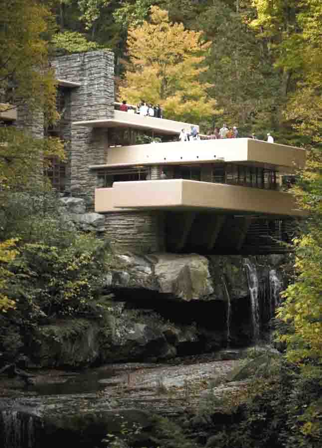 Falling Water by 20th Century famed architect Frank Lloyd Wright.  Architects everywhere dream of a home design project like this.